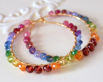 Rainbow Earrings, Gold Hoops, Bright Color, Real Gemstones, Wire Wrapped, Colorful Jewelry, Free Shipping