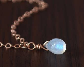Rainbow Moonstone Necklace, Rose Gold Jewelry, Real Gemstone, Teardrop Pendant, Simple and Dainty, Wire Wrapped, Free Shipping