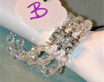 Vintage 3 Row Aurora Crystal Bracelet w/ Rhinestone Clasp   #B