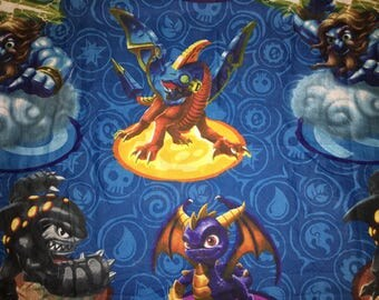 SKYLANDERS Giants Twin Size flat Bed Sheet character repurpose refashion upcycle cutter fabric