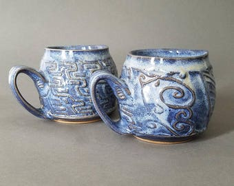 Set of 2 Wavy Swirly Textured Coffee Mug in Blue Denim