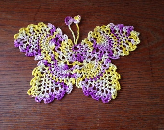 Butterfly crochet purples yellow bookmark applique doilies