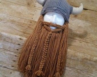 Viking Hat and Beard, Knitted Viking Beard Hat, Detatchable Beard, Viking Costume Hat and Beard, Viking Costume Helmet Beard, Viking Horns