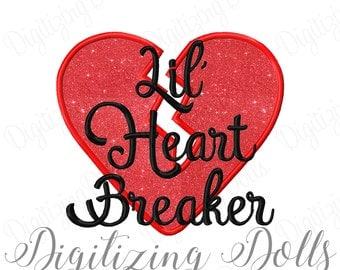 Lil Heart Breaker 2 Applique Machine Embroidery Design 4x4 5x5 5x7 6x10 8x8 Valentines Day Little Heartbreaker INSTANT DOWNLOAD