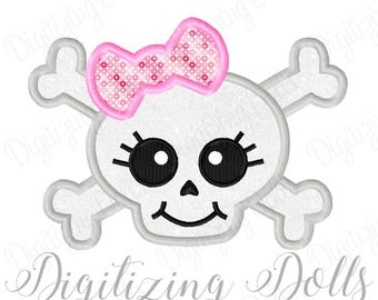 Skull Girl Applique 2 Machine Embroidery Design 3x3 4x4 5x7 Girly bow cross bones INSTANT DOWNLOAD