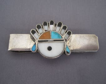 Vintage Sterling Turquoise Coral Onyx MOP Zuni Money Clip