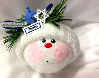 FIRST HANUKKAH Gift Ornament Blue Dreidel Jewish Star Personalized Name Tag Option Hand Painted Handmade Townsend Custom Gifts - BackRoom
