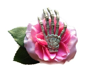 Cotton Candy Pink Gothic Rose with Skeleton Hand