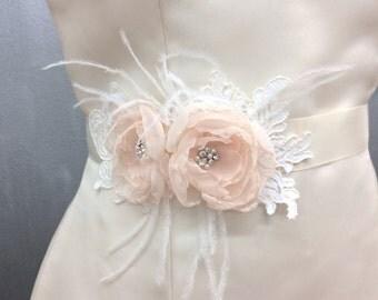 Bridal Blush Chiffon Ivory Sash Belt