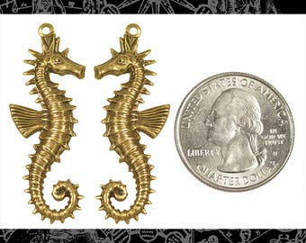 Antiqued Brass Sea Horse Pendants Stampings Set of Two * AB-P47