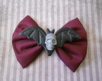 skull and bat wings hair bow clip
