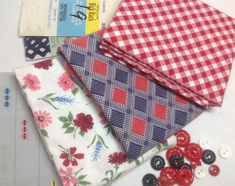 "Four half yard pieces of vintage 1950s cotton each piece 35"" x 18"" with vintage notions"