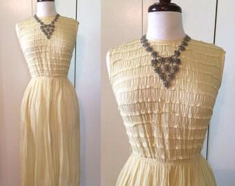 50s swing dress, yellow ruffled gauze XS S