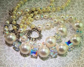 Gorgeous Swarovski Pearl and Crystal Necklace, Bracelet & Earring Set!!!!!