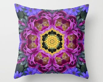 Throw pillow OR pillow cover, Floral finery - vivid kaleidoscope, blue, violet, plum, gold, green, color photo, mother's day 1649