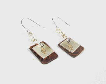 Leaf stamped mixed metal Earrings-copper-silver-hypo allergenic