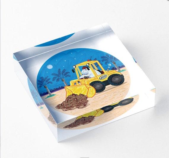 "Waldozer - Acrylic Block - Children's Decor - Kids room - Nursery Decor - 6"" x 6"" -  iOTA iLLUSTRATION"