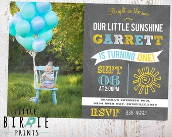 SUNSHINE Invitation Sunshine first birthday invitation Boy Sunshine Invitation Blue Sunshine Invitation You are my Sunshine Invitation
