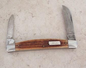 Atlas Japan Pocket Knife Horn Bone Two Blade Collectible Vintage 110416RC