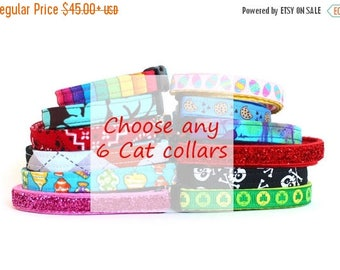ON SALE Stock Up Lot of 6 Cat Collars of Your Choice