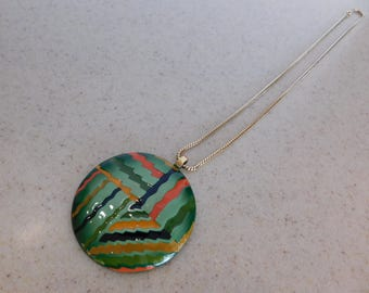 "Large 2-1/2"" Enamel Disc Necklace with Great Bold Colors and Nice Chain"