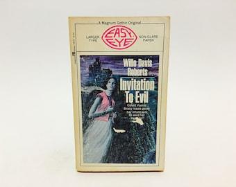 Vintage Gothic Romance Book Invitation to Evil by Willo Davis Roberts 1970 Paperback