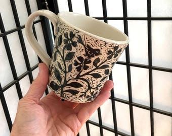 Mug, Handmade and Hand Carved in Black and White with Birds and Flowers and a Bunny