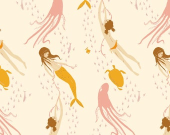 One YARD of Heather Ross Mendocino by Windham - Underwater Sisters in Blush