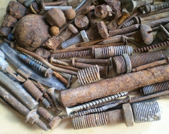 108 Rusty Metal Bolts, Nails and Parts - Industrial Salvage - Found Objects for Assemblage, Sculpture or Altered Art - Salvaged Supplies
