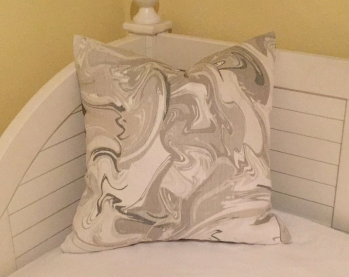 Marble in Silver (Shades of Grey) Designer Pillow Cover - Square, Lumbar and Euro Sizes