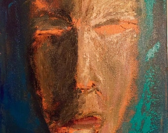 Abstract Face Original 11x14 Acrylic Painting on Canvas Ready to Hang