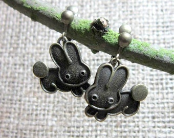 Leaping Cartoon Rabbits Bronze  Clip On Earrings - Bunny Bunnies Clip ons Screws Clips Jewellery Jewelry dangles