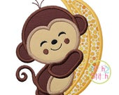 Monkey Hugs Banana Applique Design For Machine Embroidery, shown with our Closer to Free font NOT included, INSTANT DOWNLOAD now available