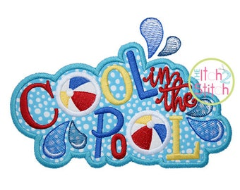Cool in the Pool Applique Design For Machine Embroidery,  INSTANT DOWNLOAD now available