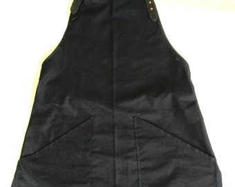 Canvas apron with neck and waistleather straps, removable,barista, restaurant