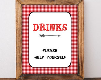 Drinks Sign, Red BBQ Baby Shower Drink Table Sign, diy Printable, INSTANT DOWNLOAD