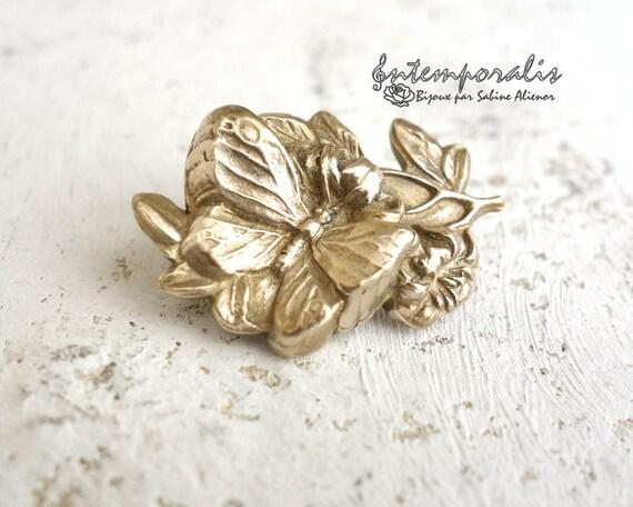 Gold bronze butterfly brooch, OOAK, SABRO06