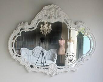 H U G E  Mirror Vintage Ornate Leaning Mirror, Floor Mirror, Hollywood Regency