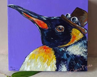 Steampunk Penguin Art Original Art Acrylic Painting on Canvas OOAK