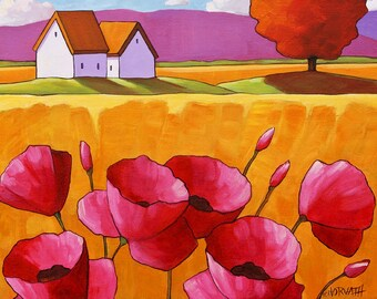 Folk Art Print, 8x11 Giclee Reproduction Summer Pink Poppy Flowers, Yellow Fields Country Scene, Rural Landscape, Archival Artwork Horvath