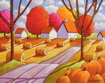 Hay Rolls & Pumpkins Fall Country Fields, Harvest Farm Road, Autumn Folk Art Print, Rural Landscape Giclee 8x11, Artwork by Cathy Horvath