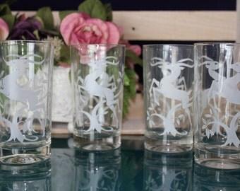 Set of White Gazelle Juice Glasses