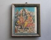 Vintage Shiva Parvati and Ganesh Print Indian Hindu Deity Bohemian Decor Wall Poster Religious Art Kitsch Art Religious Art  Wall Decor