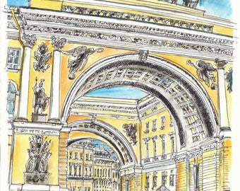 General Staff Building at the Hermitage, St Petersburg, Russia. An original watercolor.