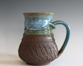 Unique Coffee Mug, 14 oz, handmade ceramic cup, handthrown mug, stoneware mug, pottery mug unique coffee mug ceramics and pottery