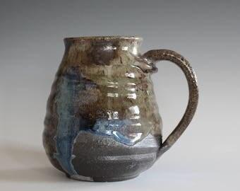 DISCOUNTED Coffee Mug, 17 oz, handthrown ceramic mug, stoneware pottery mug, unique coffee mug