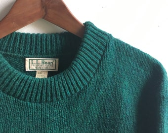 Vintage L.L.Bean Green Wool Sweater Mens Large USA Made