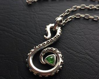 Tsavorite Garnet & Sterling Silver Tentacle Necklace