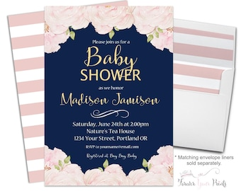 Floral Baby Shower Invitation Printable or Printed - Floral Baby Shower Invite - Baby Shower Invitation Girl - Boho Baby Shower Invitation