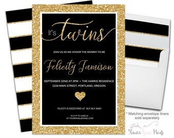 TWINS Baby Shower Invitation Printable or Printed - Twins Baby Shower Invite - Twins Baby Sprinkle Invitation - Twins Shower Invite - Modern